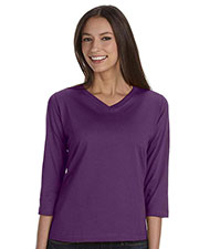 LAT 3577 Women Ringspun V-Neck 3/4-Sleeve T-Shirt at GotApparel