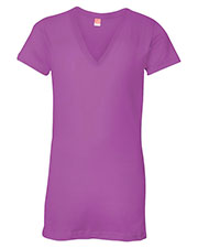 LAT 3607 Women Fine Jersey V-Neck Longer Length T-Shirt at GotApparel