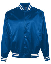 Augusta 3611 Boys Satin Baseball Jacket Striped Trim at GotApparel
