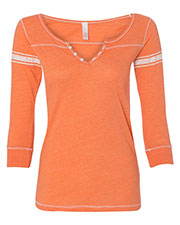 Mv Sport W1454  Wos Hailey Henley 3/4 Sleeve T-Shirt at GotApparel
