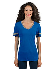 Jerzees 602WVR Women 4.5 oz. TRI-BLEND Varsity V-Neck T-Shirt at GotApparel