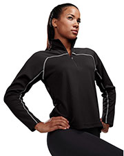 TRI-MOUNTAIN PERFORMANCE 636 Women Rhythm Jaquard Uc 1/4 Zip Long Sleeve Knit Pullover Shirt at GotApparel
