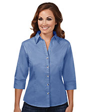 Tri-Mountain 763 Women Affinity Stain Resistant Open Neck 3/4 Sleeve Shirt at GotApparel