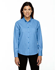 North End 77040 Women Echelon Wrinkle Resistant Cotton Blend Houndstooth Taped Shirt at GotApparel