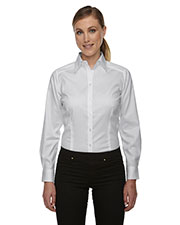 North End 78646 Women Wrinkle Free TwoPly 80 Cotton Taped Stripe Jacquard Shirt at GotApparel