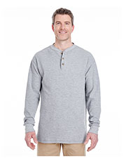 UltraClub 8456 Men Mini Thermal Henley at GotApparel