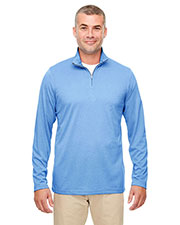 Ultraclub 8618 Men Cool & Dry Heathered Performance Quarter-Zip at GotApparel