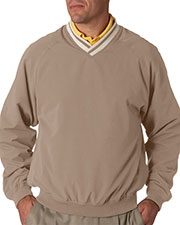 UltraClub 8926 Men LongSleeve Microfiber Crossover V-Neck wind shirt at GotApparel
