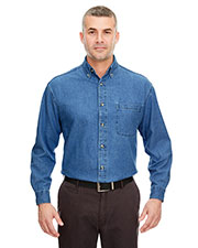 UltraClub 8960 Men Solid Long-Sleeve Cypress Denim with Pocket Button Down Dress Shirt at GotApparel