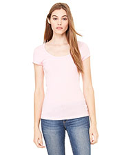 Bella + Canvas B8703 Women Sheer Mini Rib short sleeve Scoop Neck T-Shirt at GotApparel