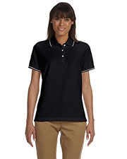 Devon & Jones Blue D113W Women's Pima Pique Short-Sleeve Tipped Polo at GotApparel