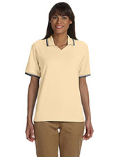 Devon & Jones Classic D140W Women's Tipped Perfect Pima Interlock Polo at GotApparel