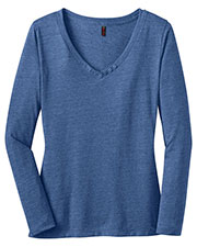 District Made DM472 Women  Textured Long Sleeve V-Neck with Button Detail at GotApparel