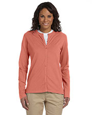 Devon & Jones Pink DP170W Women Stretch Jersey Long Sleeve Cardigan at GotApparel
