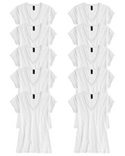 District DT240 Women Slub V-Neck Tee 10-Pack at GotApparel