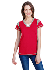 LAT LA3533 Women Ladies' Vintage Fine Jersey Gameday Lace-Up T-Shirt at GotApparel