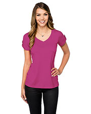 LILAC BLOOM LB002 Women Chloe Short Sleeve V Nick Pocket Tee at GotApparel