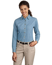 Port & Company LSP10 Women Long Sleeve Value Denim Shirt at GotApparel