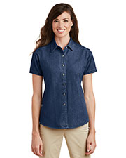 Port & Company LSP11 Women Short-Sleeve Value Denim Shirt at GotApparel
