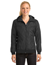 Sport-Tek® LST53 Women   Embossed Hooded Wind Jacket at GotApparel
