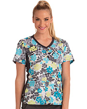 Cherokee Ck611  V-Neck Knit Panel Top at GotApparel