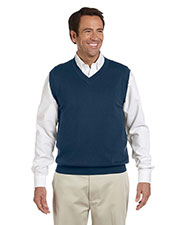 Devon & Jones Blue D477 Men Adult Unisex V-Neck Vest at GotApparel