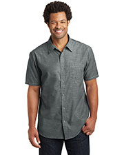 District Made DM3810 Men Short Sleeve Washed Woven Shirt at GotApparel