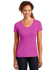 District Made DM401 Women Mini Rib V-Neck Tee at GotApparel