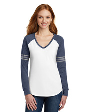 District Made DM477 Women Game Long Sleeve V-Neck Tee   at GotApparel