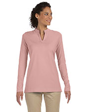Devon & Jones Pink DP165W Women Stretch Jersey Long Sleeve Tunic at GotApparel
