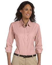 Devon & Jones Pink DP625W Women Three-Quarter Sleeve Stretch Poplin Blouse at GotApparel