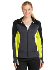 Sport-Tek LST245  ®  Ladies Tech Fleece Colorblock Full-Zip Hooded Jacket. at GotApparel