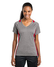 Sport-Tek® LST361 Women Heather Colorblock Contender   V-Neck Tee at GotApparel