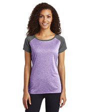 Sport-Tek® LST362 Women Heather-On-Heather Contender™ Scoop Neck Tee Jacket at GotApparel