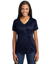 Sport-Tek® LST370 Women Camohex V-Neck Tee at GotApparel