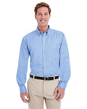 Harriton M581 Men Foundation 100% Cotton Long-Sleeve Twill Shirt With Teflon  at GotApparel