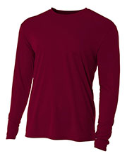 A4 Drop Ship NB3165 Boy's Long Sleeve Cooling Performance Crew Shirt at GotApparel
