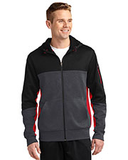 Sport-Tek® ST245 Men Tech Fleece Colorblock Full-Zip Hooded Jacket at GotApparel