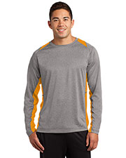 Sport-Tek ST361LS Men Long Sleeve Heather Colorblock Contender ™ Tee at GotApparel
