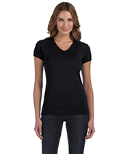 Bella + Canvas 1005 Women Stretch Rib ShortSleeve VNeck TShirt