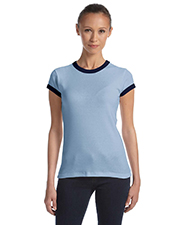 Bella 1007  Ladies Rib Ringer T at GotApparel