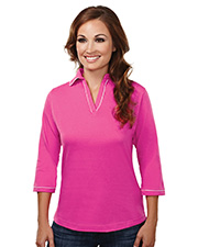 Tri-Mountain 133  Women's Cotton Jersey 3/4 Sleeve Johnny Collar Knit at GotApparel