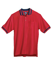 Tri-Mountain 179 Men Teammate Pique Pocketed Short Sleeve Golf Shirt With Trim