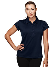 TRI-MOUNTAIN PERFORMANCE 221 Women California Poly Ultracool Capped Sleeves Golf Shirt With Self-Fabric Collar