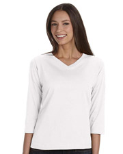 LAT 3577 Womens Ringspun V-Neck 3/4-Sleeve T-Shirt at GotApparel