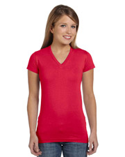 Ladies Junior Fine Jersey V-Neck Longer Length T-Shirt