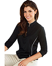 Tri-Mountain 403  Women's Poly Ultracool Jaquard Knit 3/4 Sleeve Pullover Shirt at GotApparel