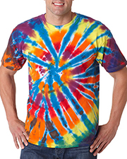Gildan Tie-Dyes 60 Dyenomite Men Rainbow Cut Spiral Tee at GotApparel