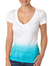 Next Level 6542  Women's Ombre Brnout V-Neck Tee at GotApparel