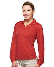 Tri-Mountain 656  Women's Poly Ultracool Pique Y-Neck Long Sleeve Golf Shirt at GotApparel